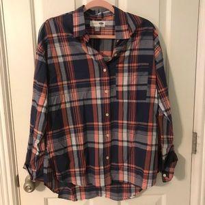 Old Navy Plaid Button Down Boyfriend Shirt Medium